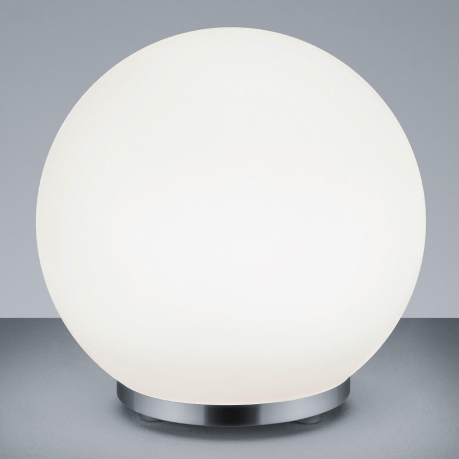 George – rund bordlampe i glass med fjernkontroll