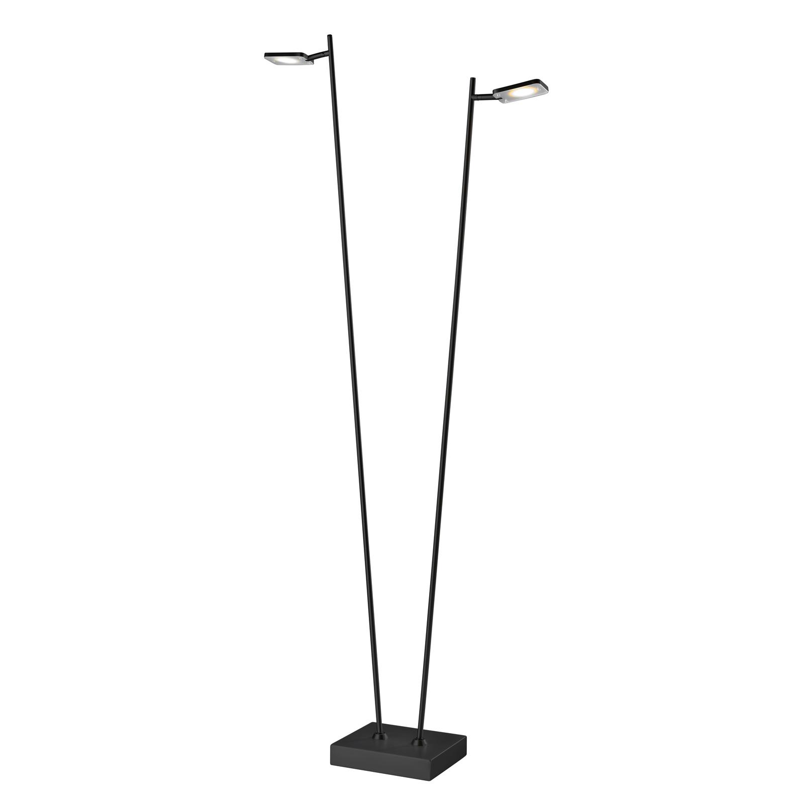 LED-gulvlampe Quad, dimmer, 2 lyskilde, svart