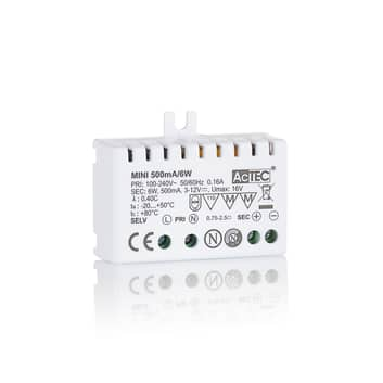 AcTEC Mini LED-driver CC 500mA, 6 W, IP20