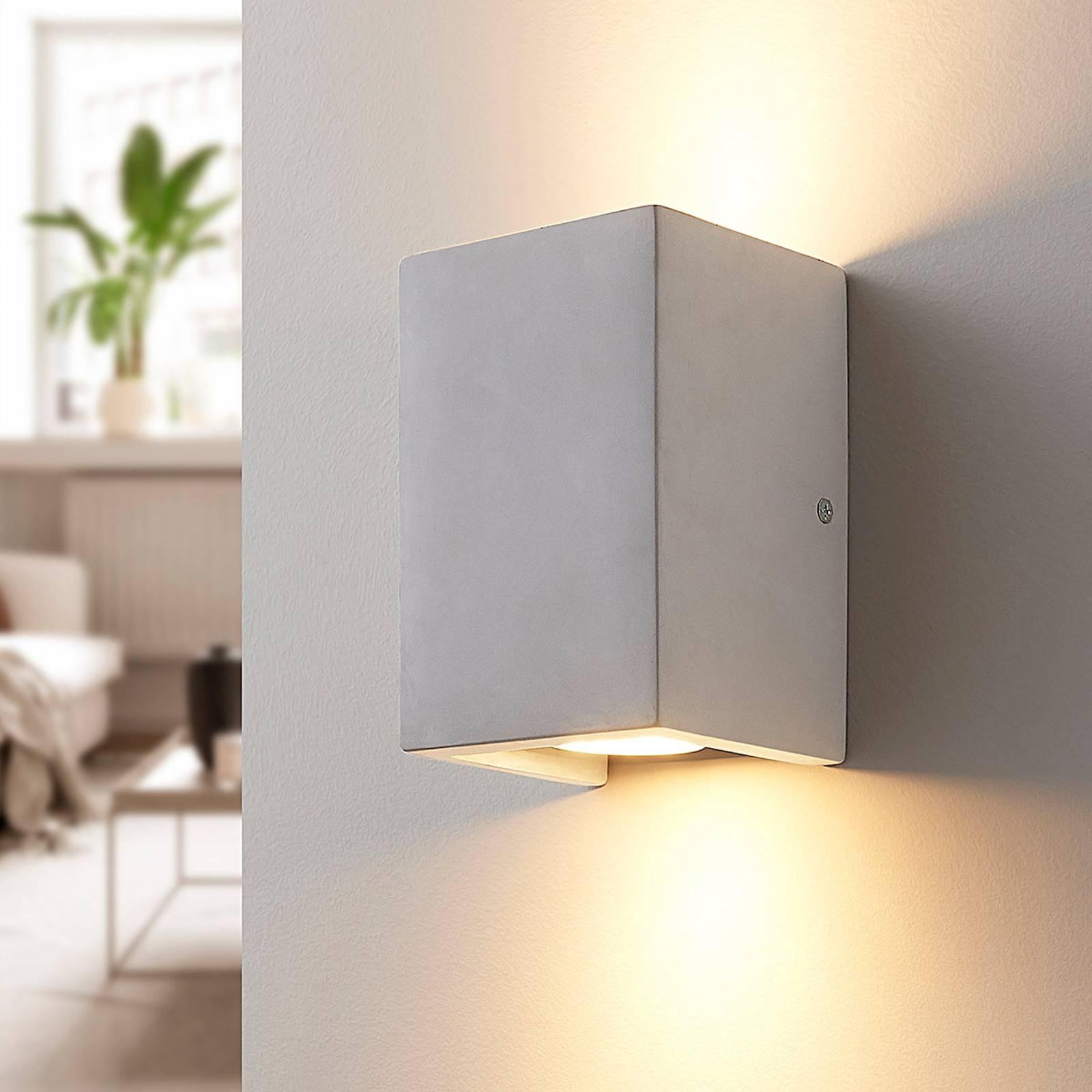 Industrielook Flurlampen Deckenlampe aus grauem Beton Spots schwenkbar 2x GU10