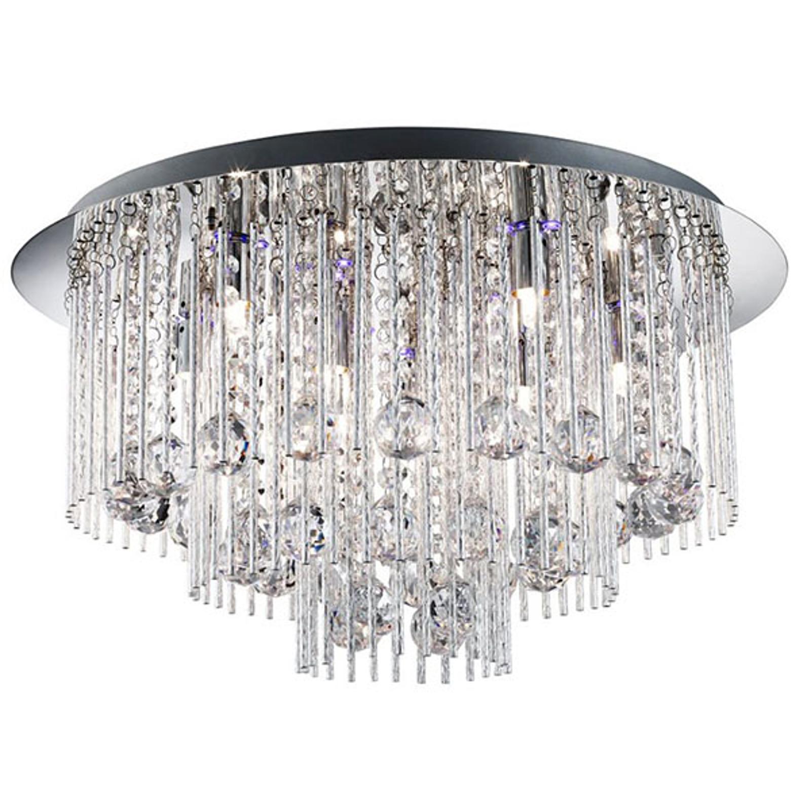 Taklampe Beatrix krystall med fjernkontroll