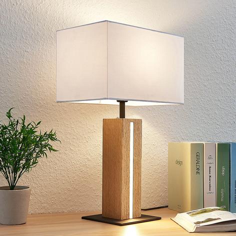 Textilní stolní lampa Garry, hranatá