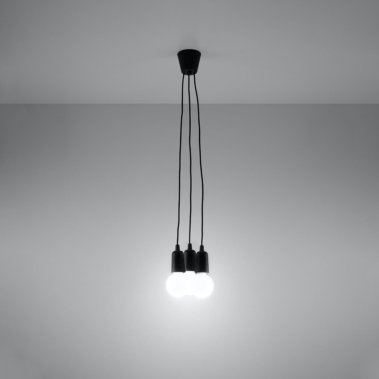 Lampa wisząca Brasil, czarna, 3-punktowa