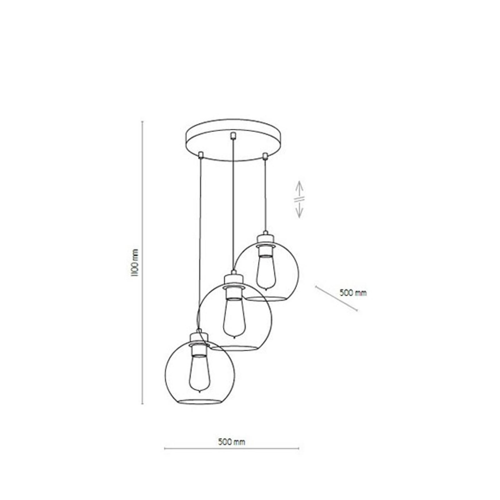 Lampa wisząca Cubus, 3-punktowa, grafitowa