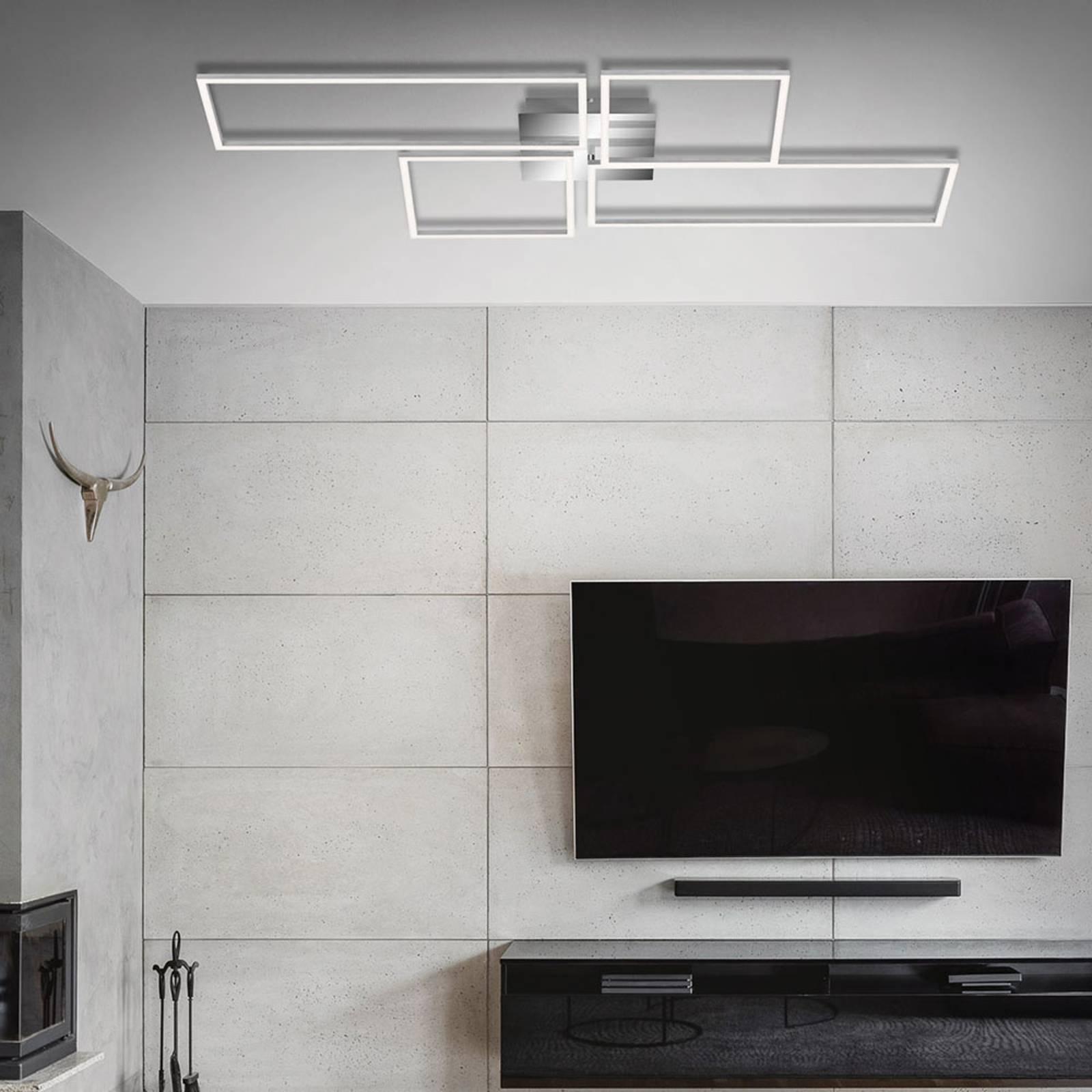 LED plafondlamp Frame CCT, chroom-alu, 110x54cm