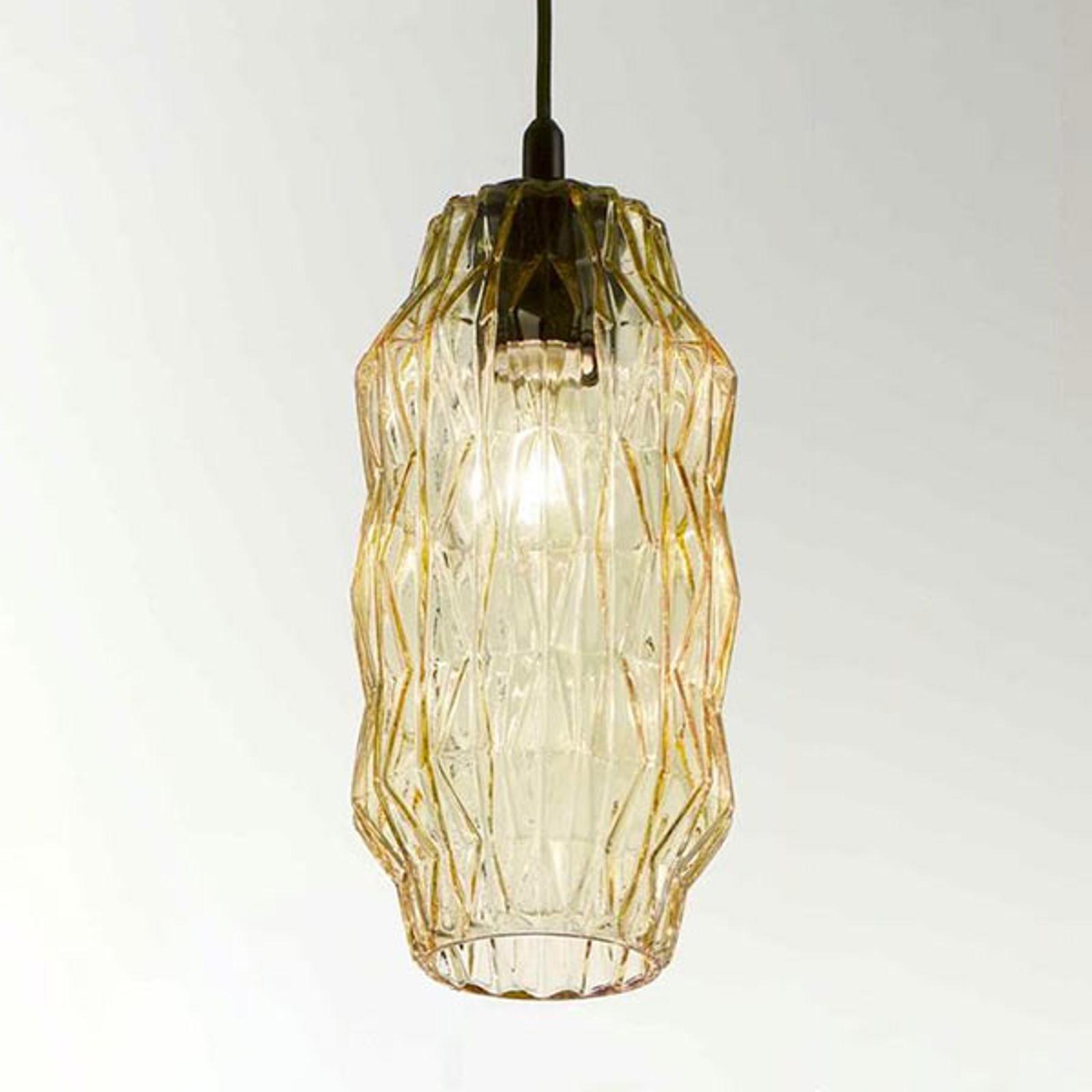 Lampa wisząca Origami ze szkła, bursztynowa