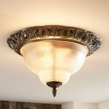 Klasická stropní lampa Anni, leptané sklo