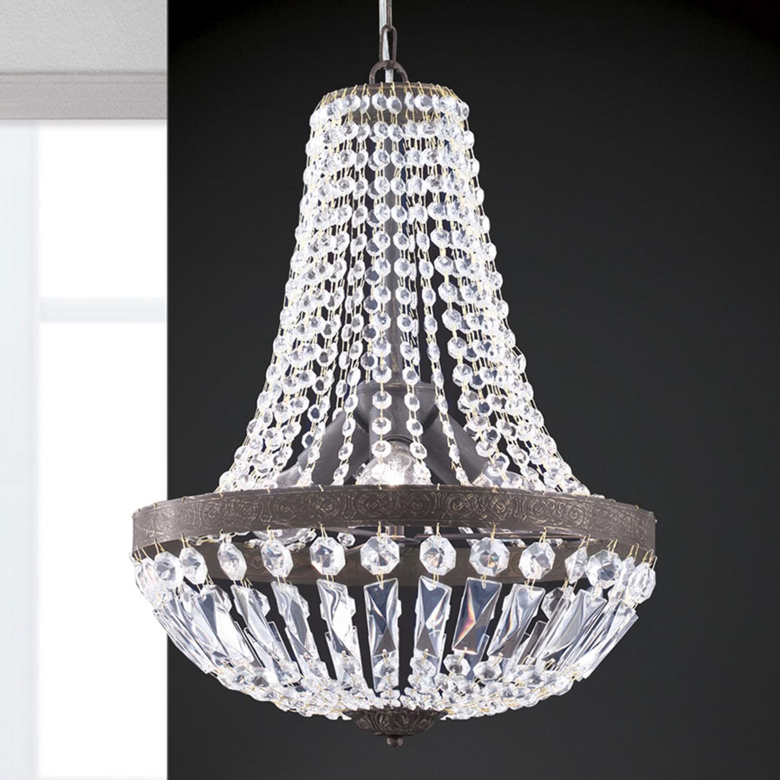Lampa wisząca Andara, kryształowe łańcuchy, Ø 40cm