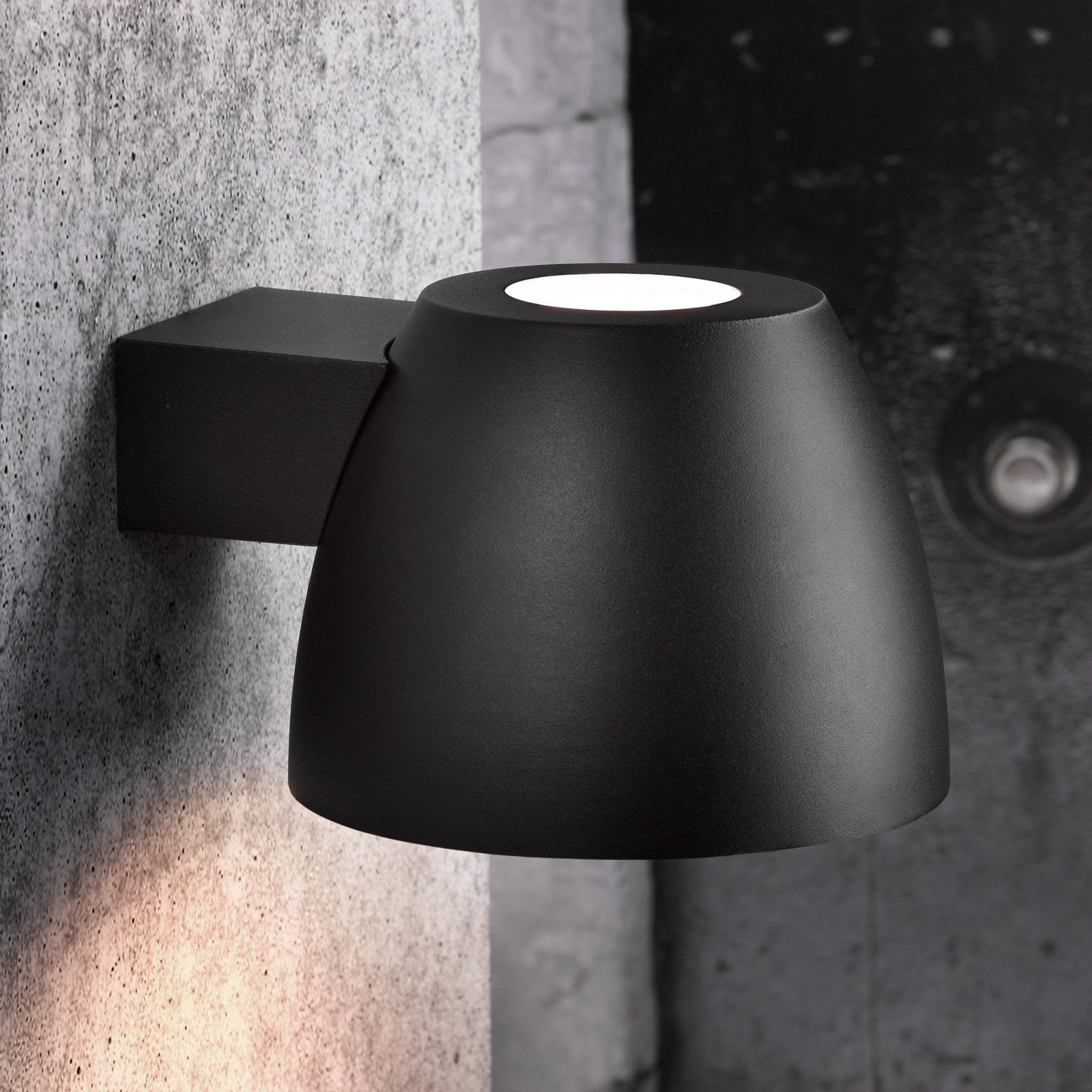 Außenwandleuchte Bell aus Aluminium in Schwarz
