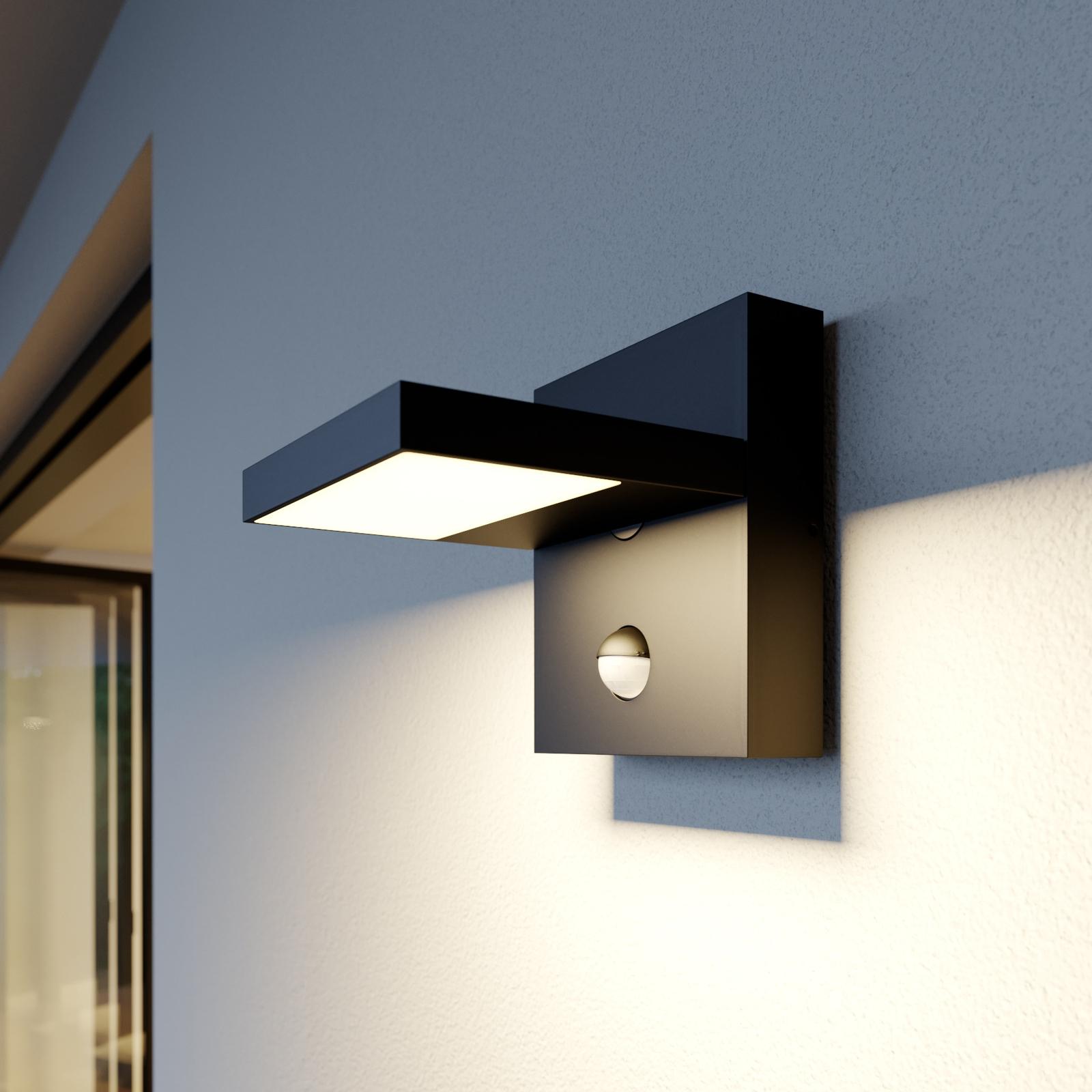 Utendørs LED-vegglampe Silvan, mørk grå, sensor