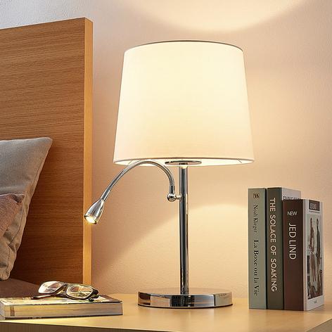 Textilní stolní lampa Benjiro, LED lampa na čtení