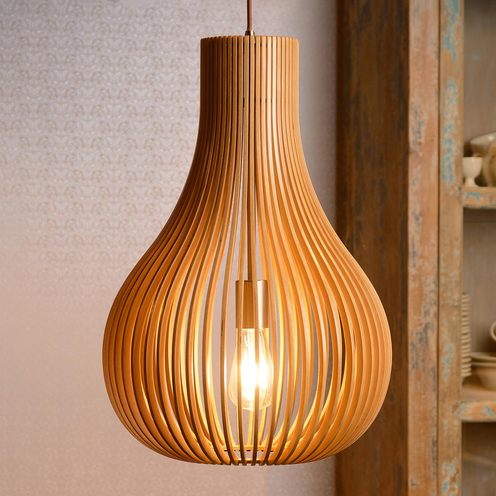 Lampa wisząca Bodo, drewno jasne