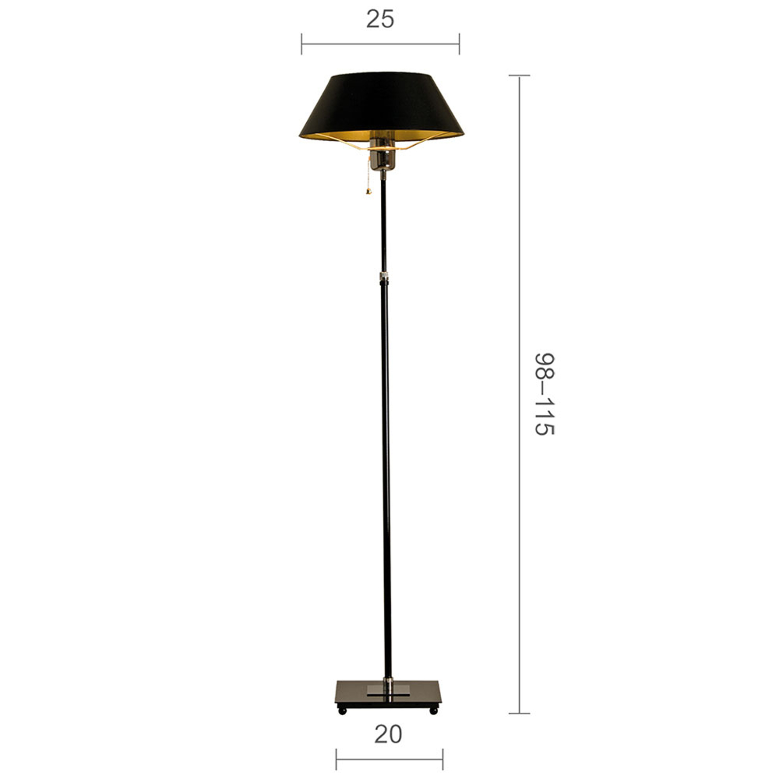 Menzel Antos AF6125 Stehleuchte, Schirm schwarz