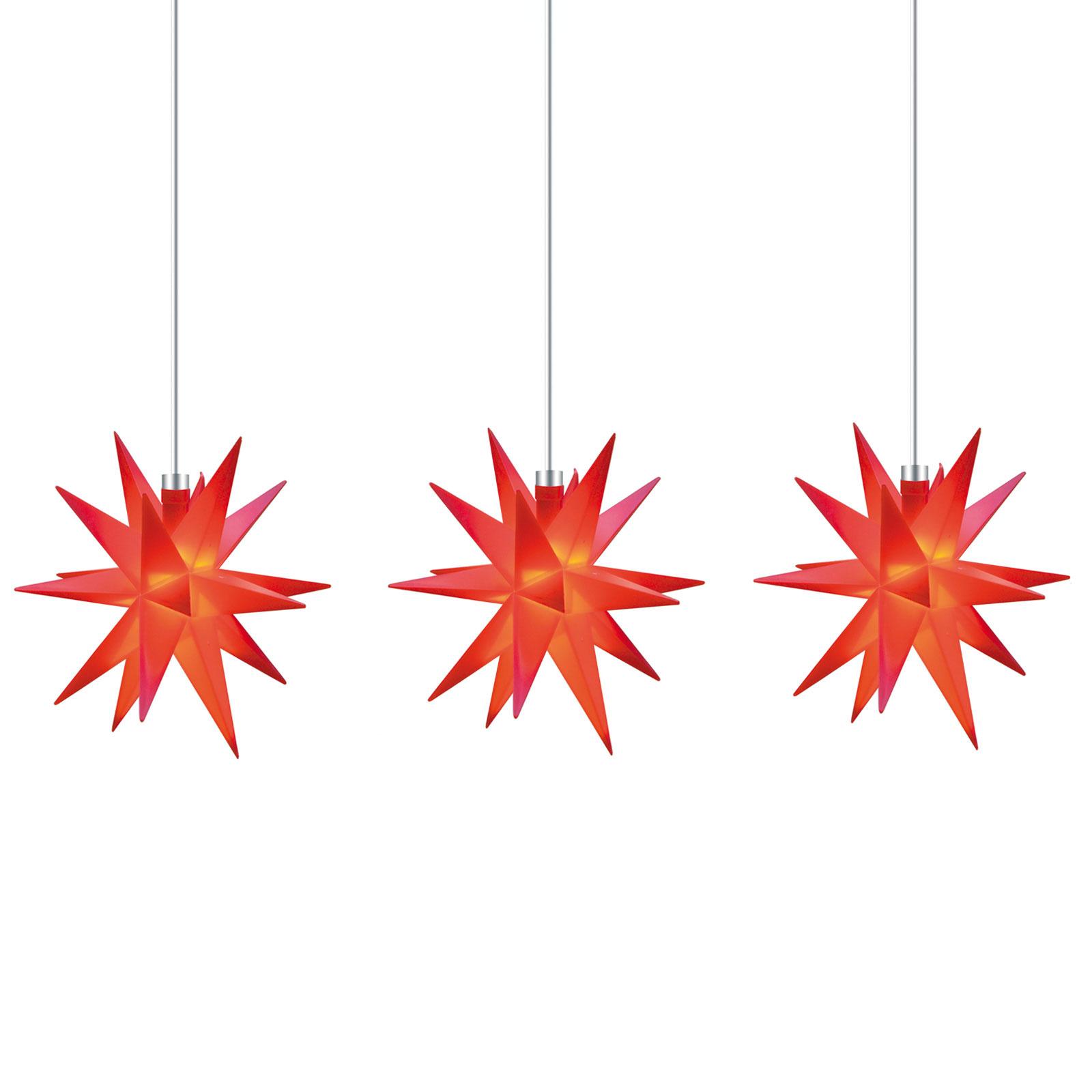 Ljusslinga stjärna inne, 18 uddig, 3 lampor, röd