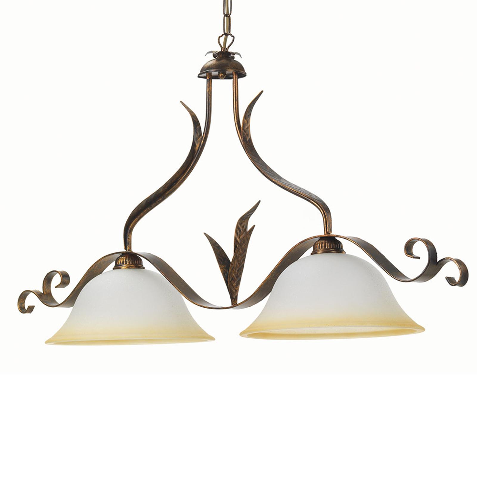 Hanglamp Biliardo 2-lamps crèmewit/brons
