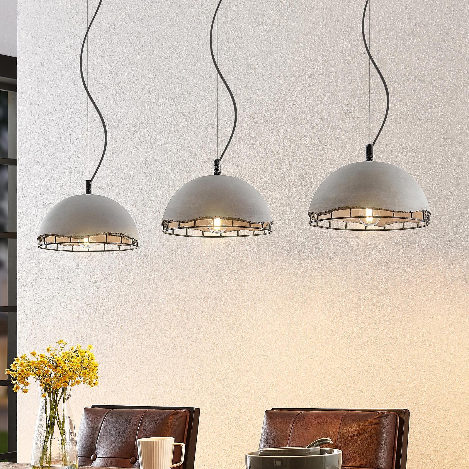 Lindby Lorima hængelampe med betonskærme