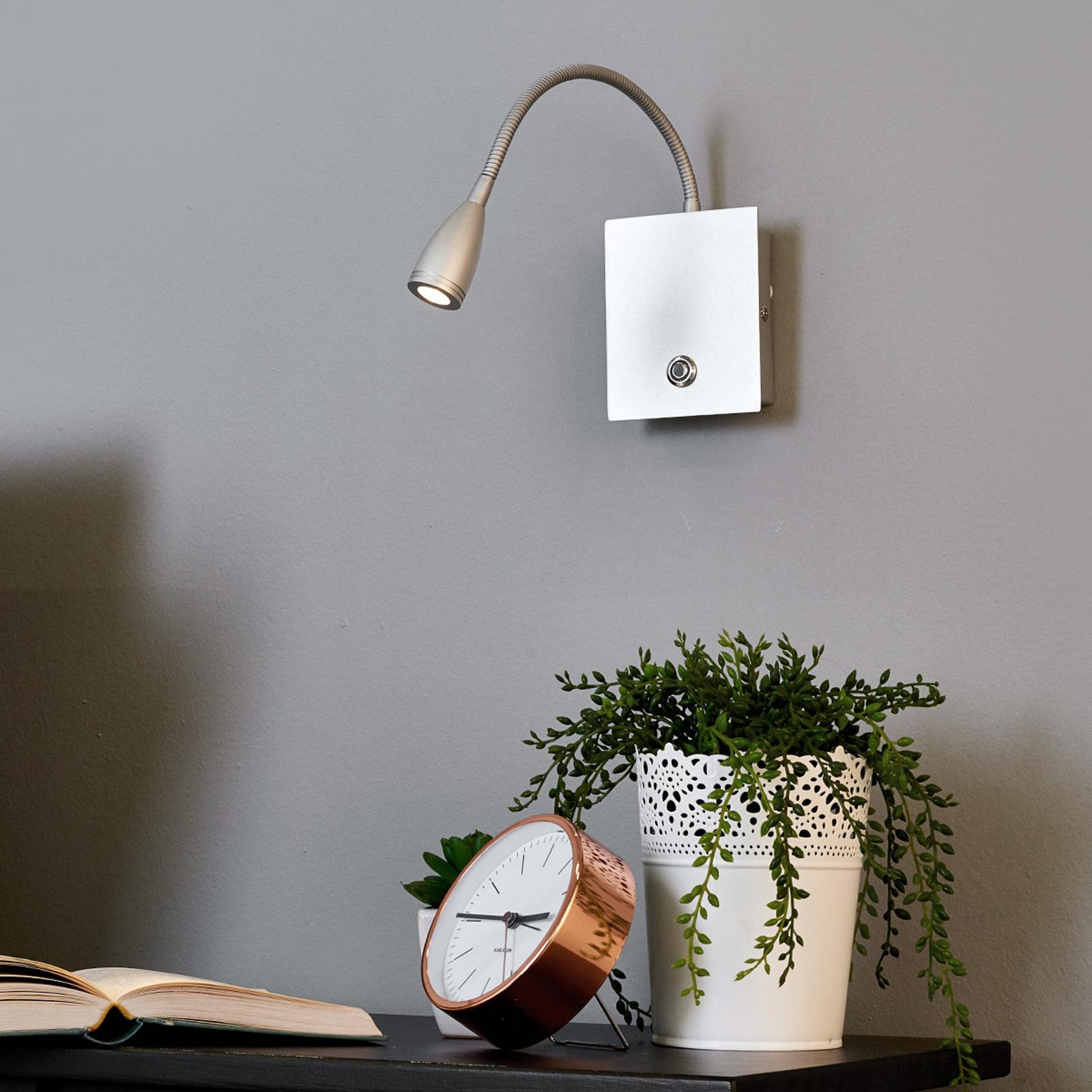 Dimmbare LED-Wandleuchte Torin, silbergrau