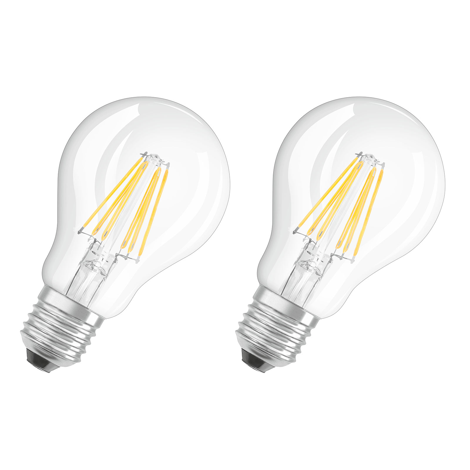 E27 7W 827 Filament-LED-Lampe 2er Set