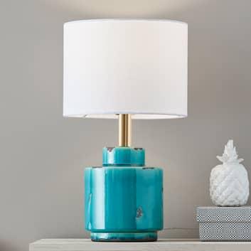 Lámpara de mesa textil Cous con base de cerámica