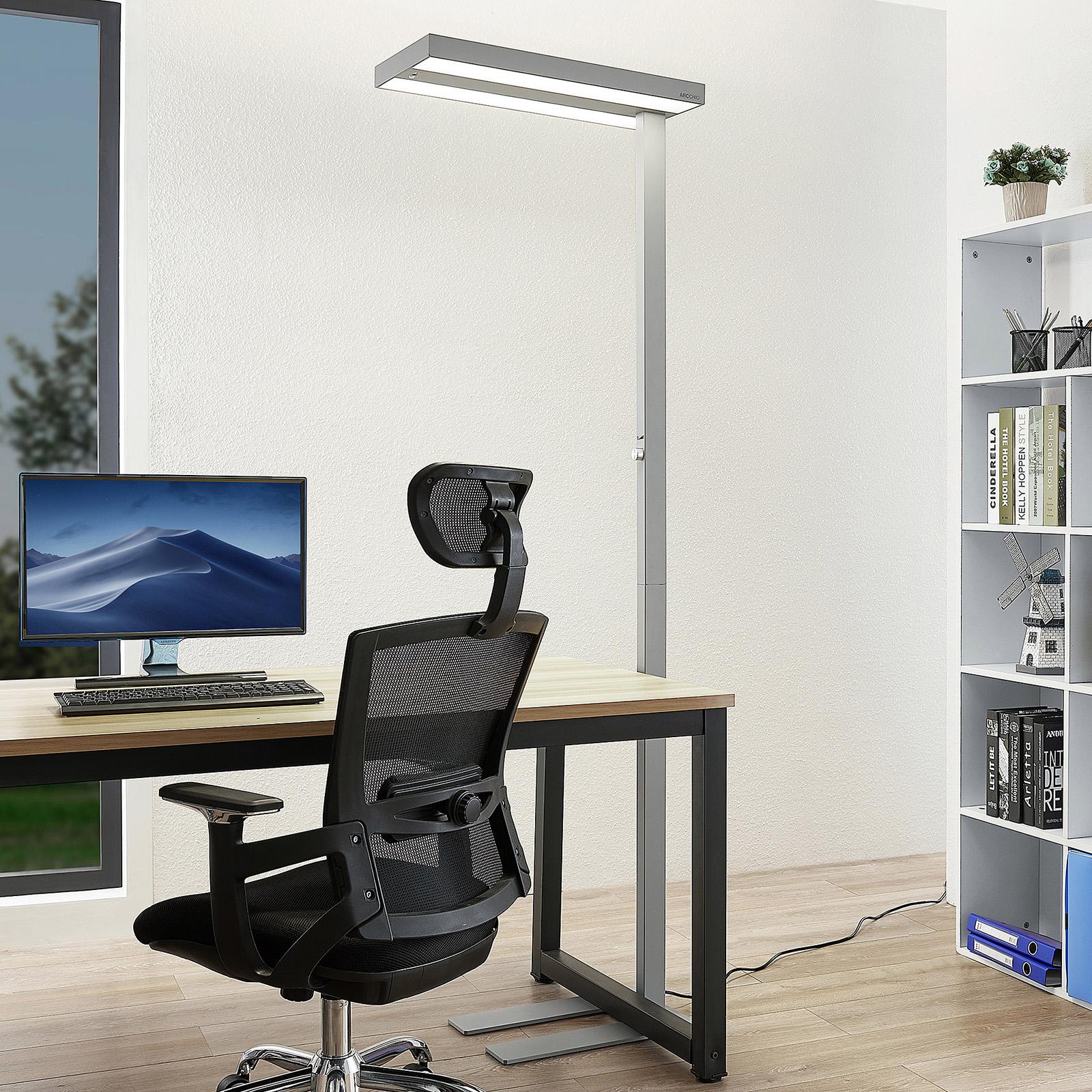 Arcchio Nelvana LED-gulvlampe m. sensor, sølv
