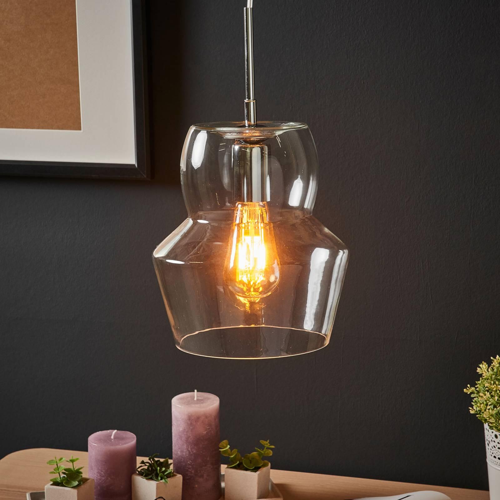 Glas-hanglamp Zeno, transparant, 22 cm