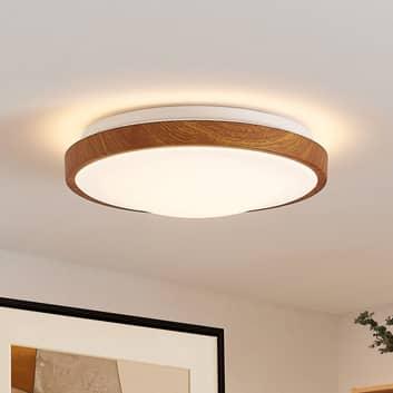 Lindby Mynte plafón LED, redondo, aspecto madera