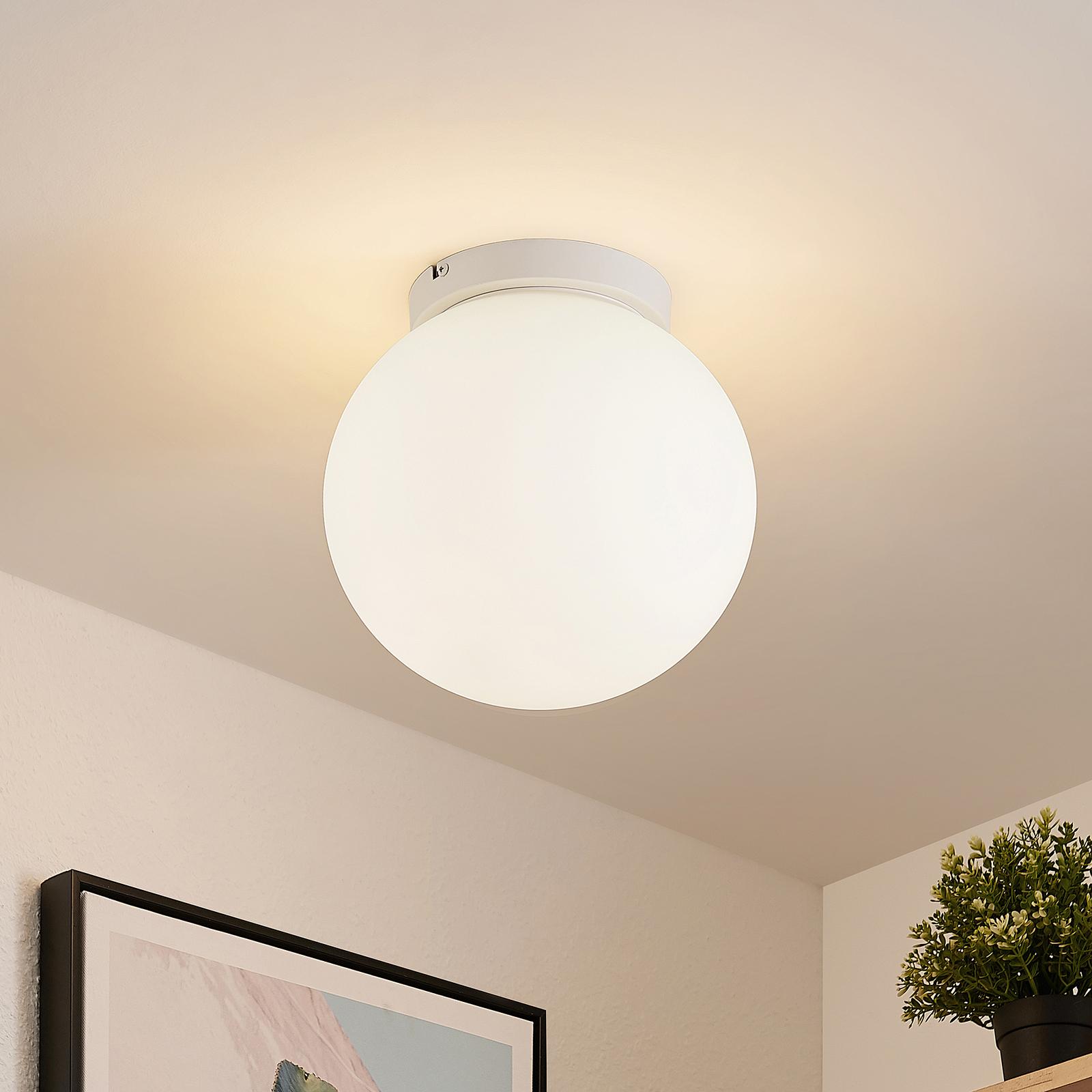 Lindby Meriala taklampe, hvit, glass Ø 25 cm