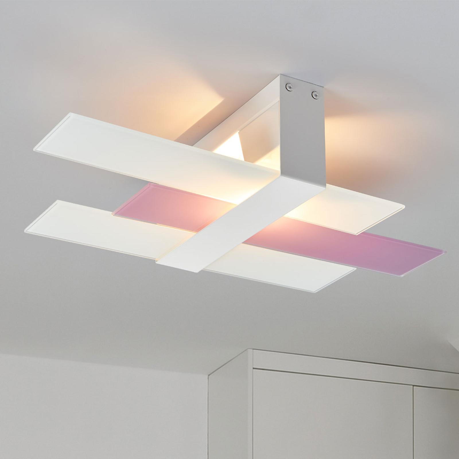 Moderne plafondlamp Triad, 48 cm, wit-lila