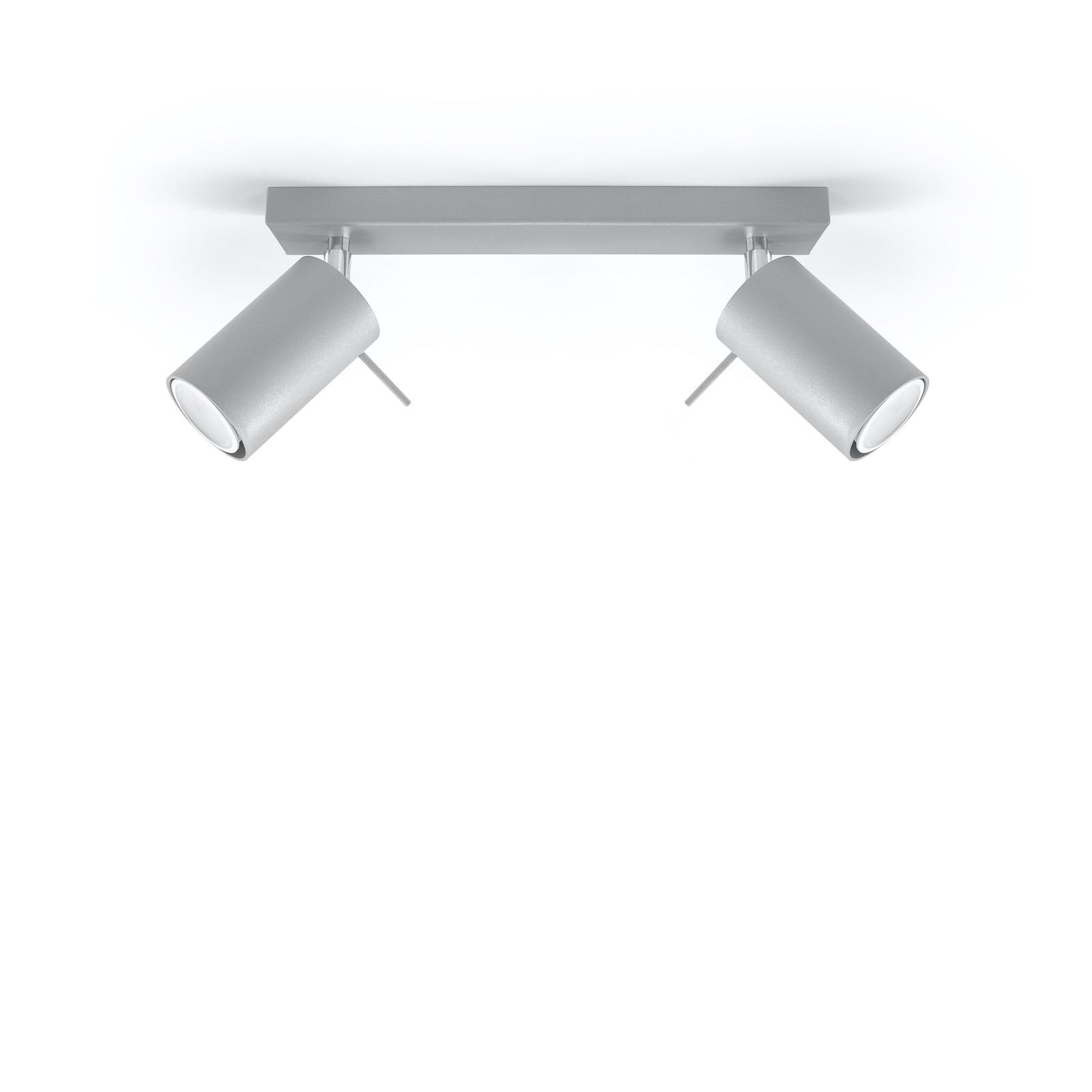 Faretto soffitto Round, grigio, 2 luci