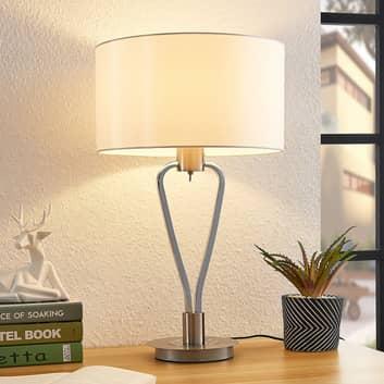 Lucande Gyda látková stolní lampa, nikl satinovaný
