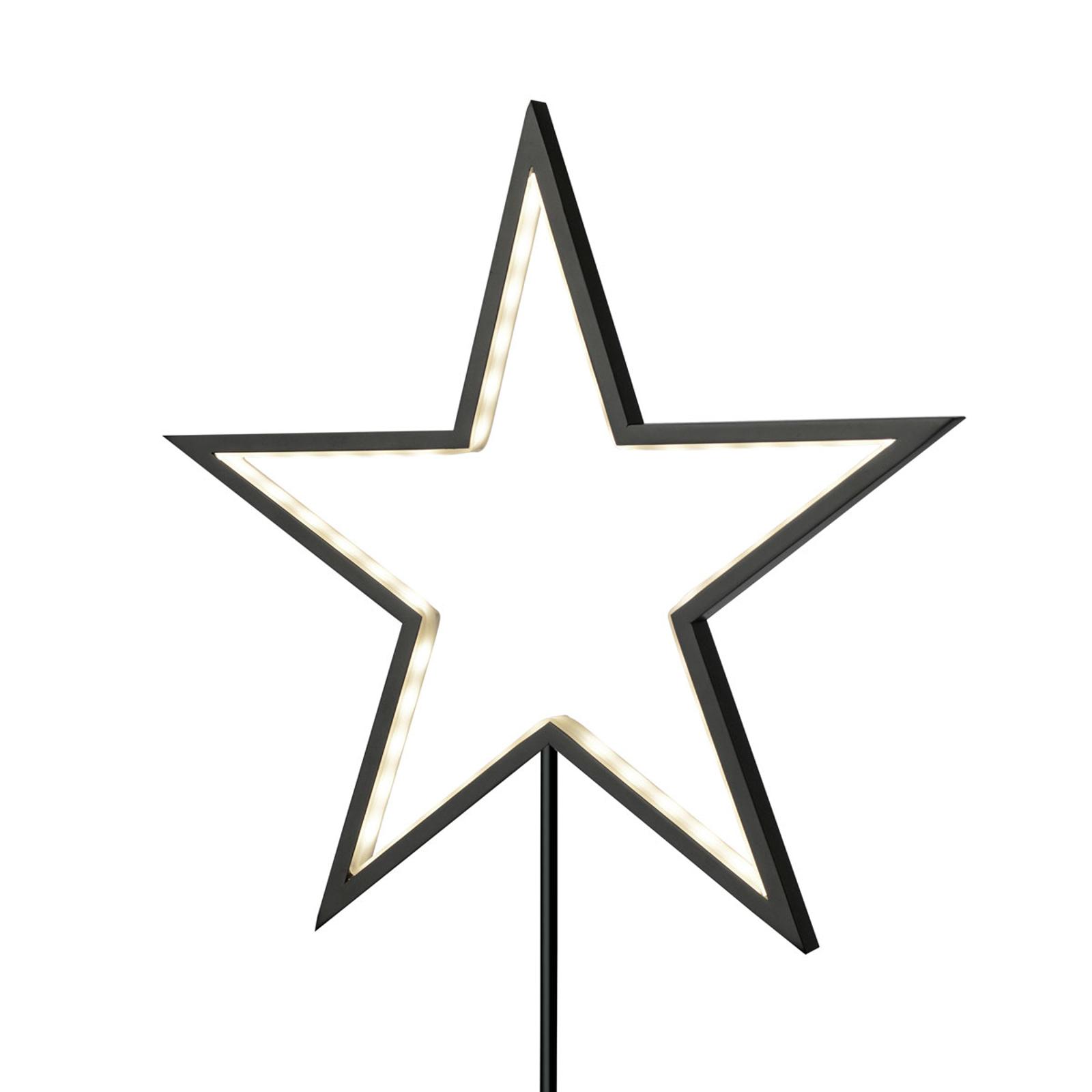 Tähtikoristevalaisin Lucy, musta, korkeus 100 cm