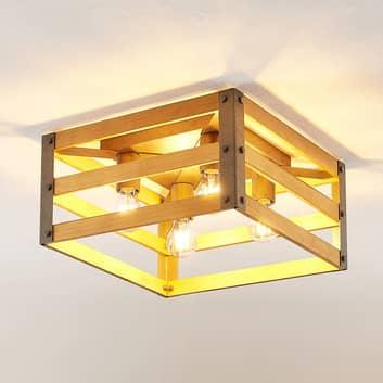 Lindby Jamina træ-loftlampe, 4 lyskilder