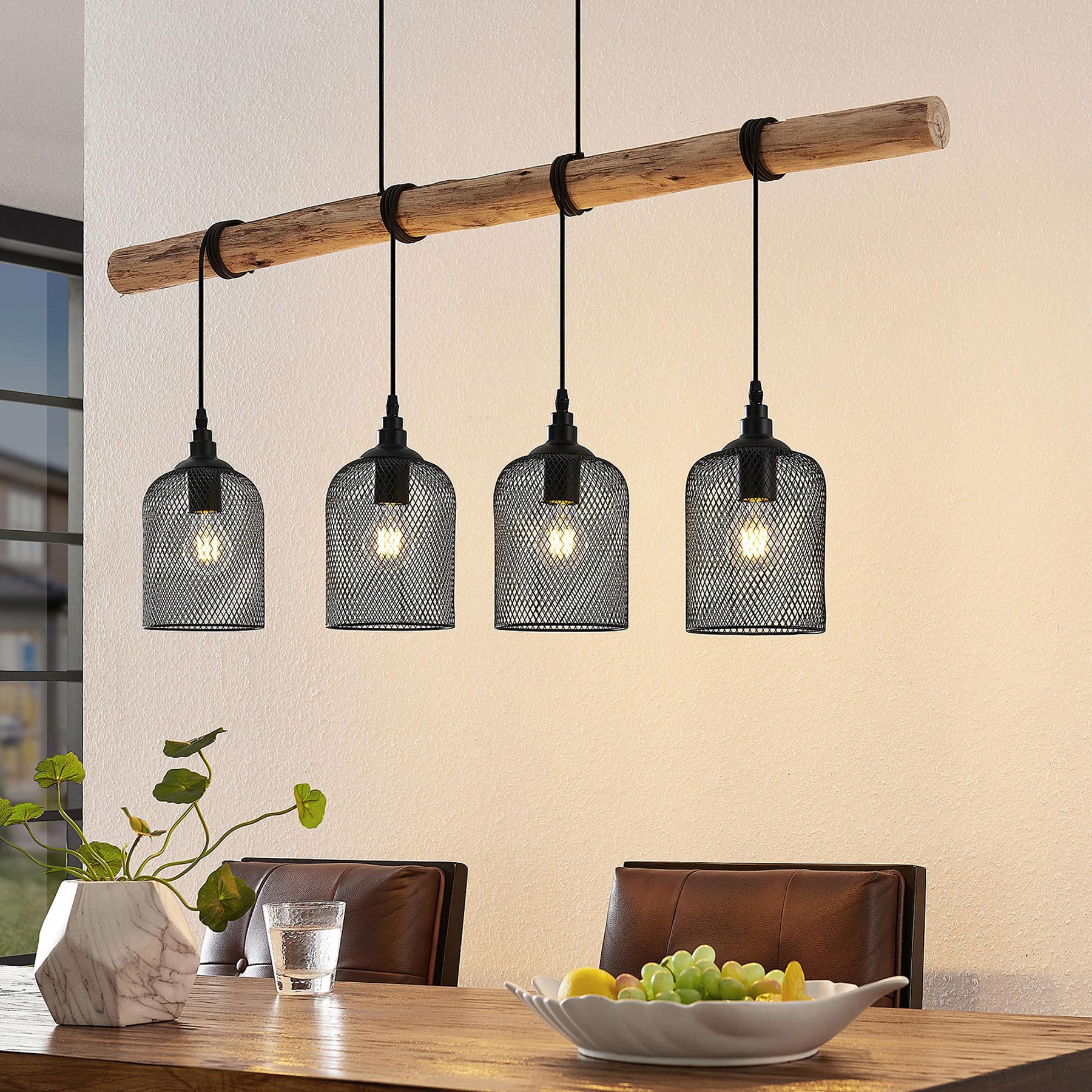 Lindby Elrond hanglamp met hout, 4-lamps