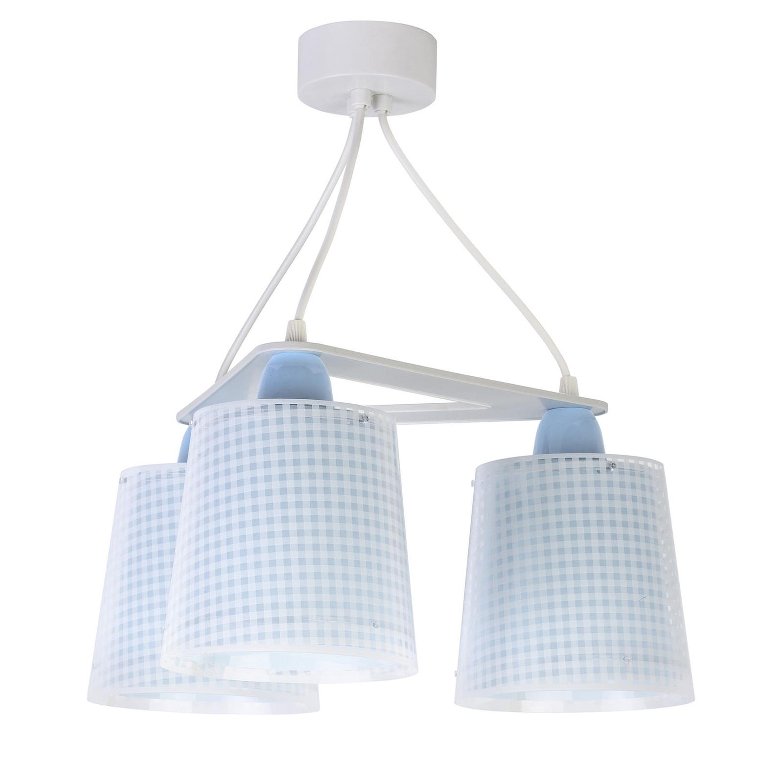 Lampa wisząca dziecięca Vichy, 3-pkt., niebieska