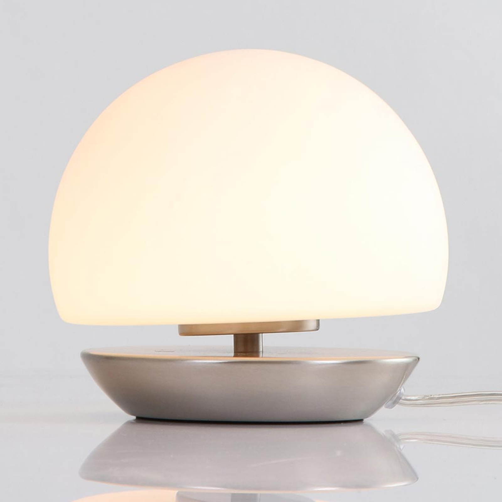 Stopa stal szczotkowana–lampa stołowa LED Ancilla