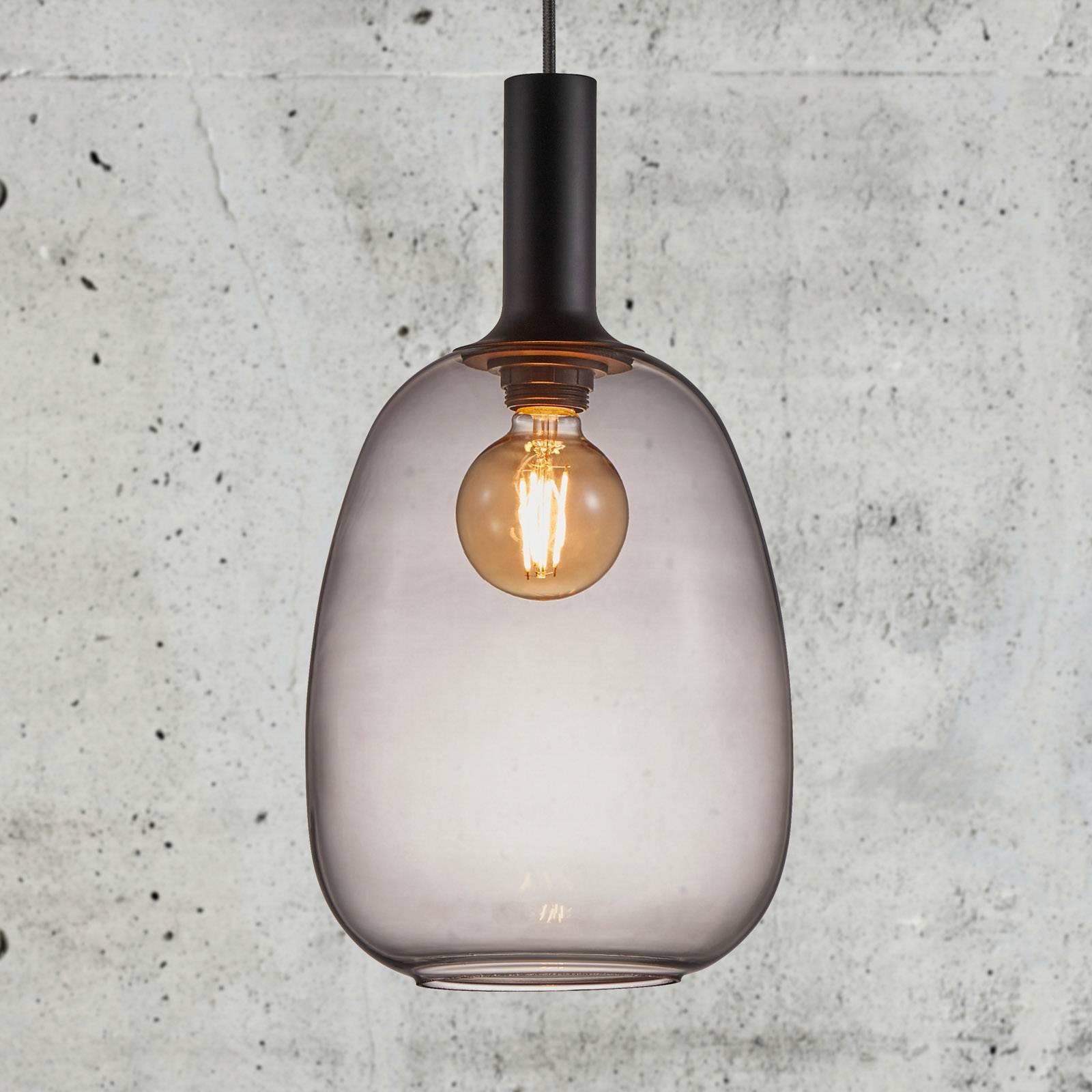 Billede af Alton hængelampe med glasskærm, røggrå, Ø 23 cm