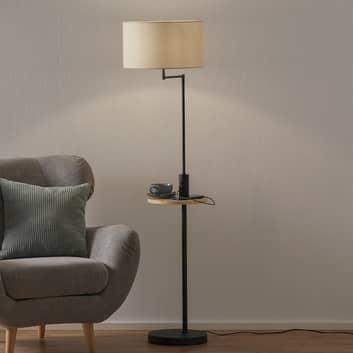 Stojací lampa Claas, odkládací plocha, USB, černá