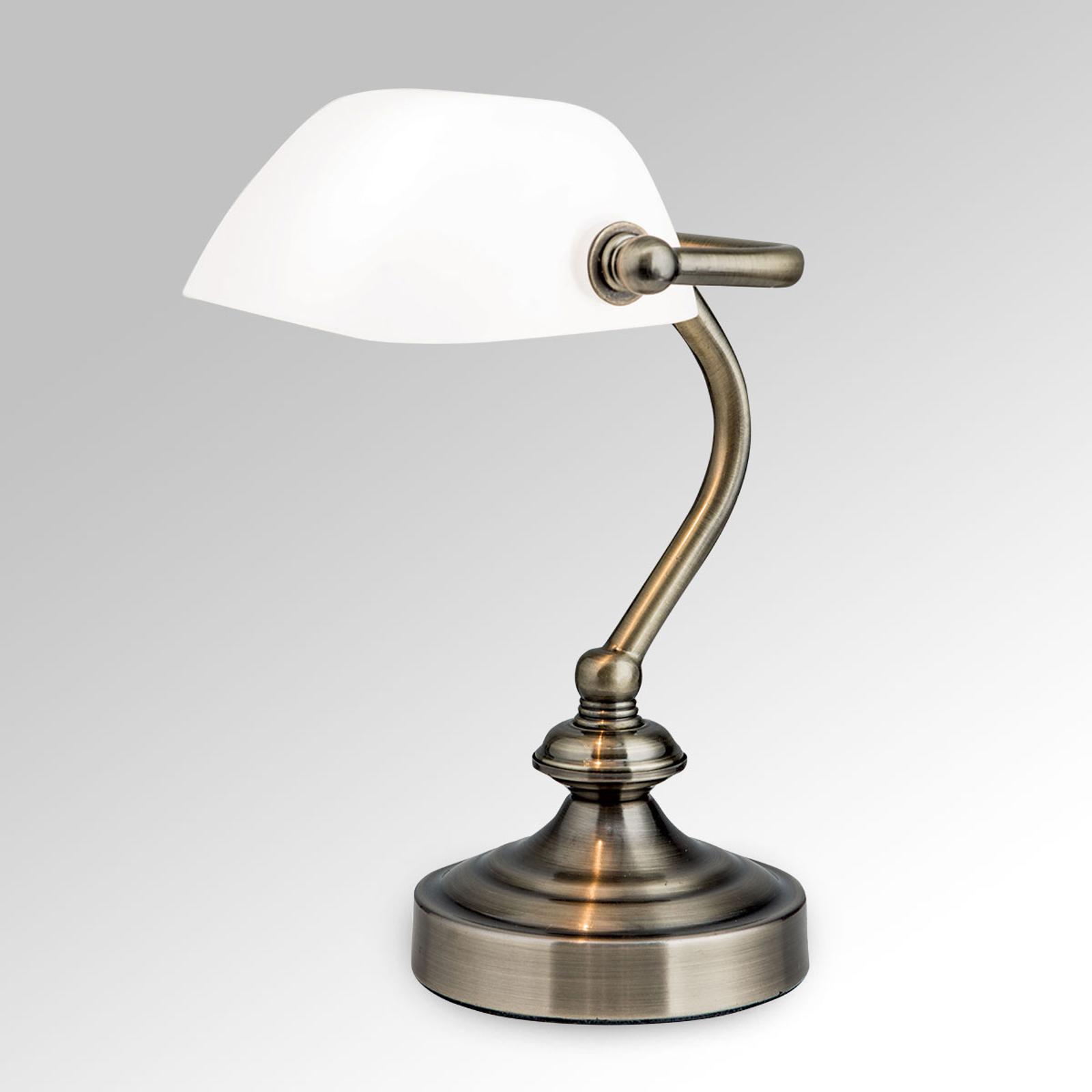 Klassisk bank bordlampe Zora med glasskærm