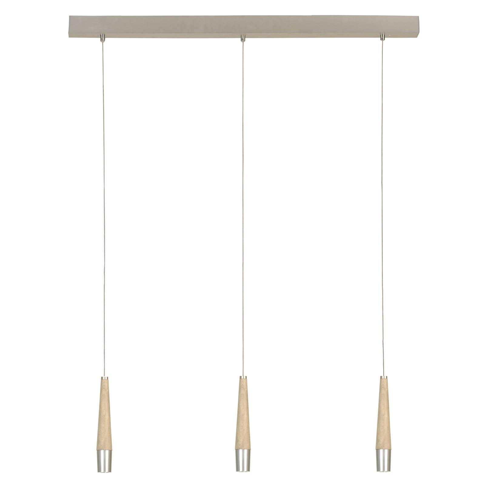 HerzBlut Conico hanglamp, eiken natuur, 3-lamps