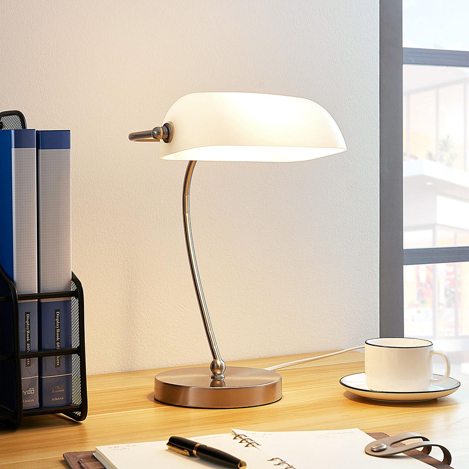 Bankerlampe Selea med hvit glasskjerm