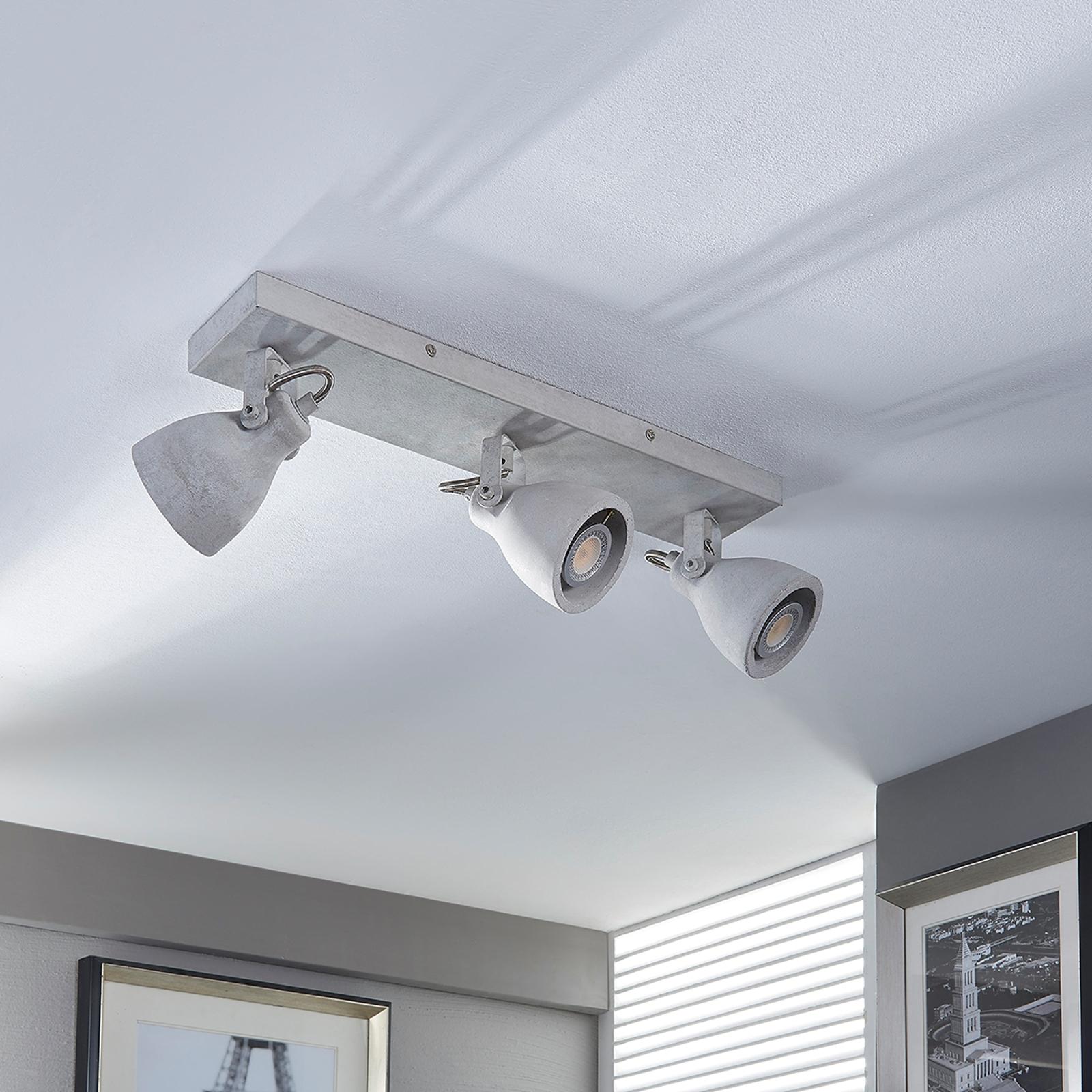 Betonové stropní LED světlo Kadiga, 3bodové