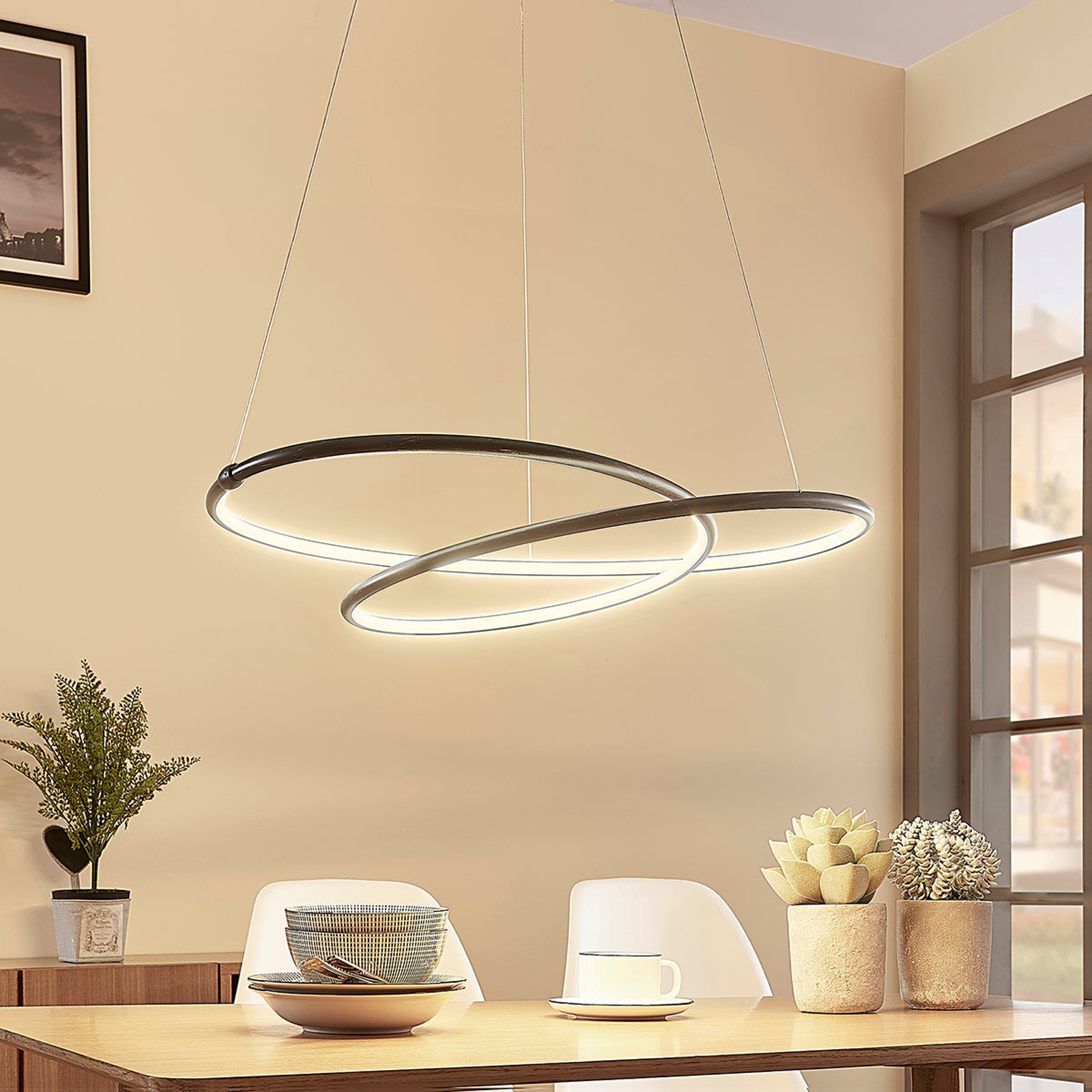 Sort, moderne LED pendellampe Mirasu