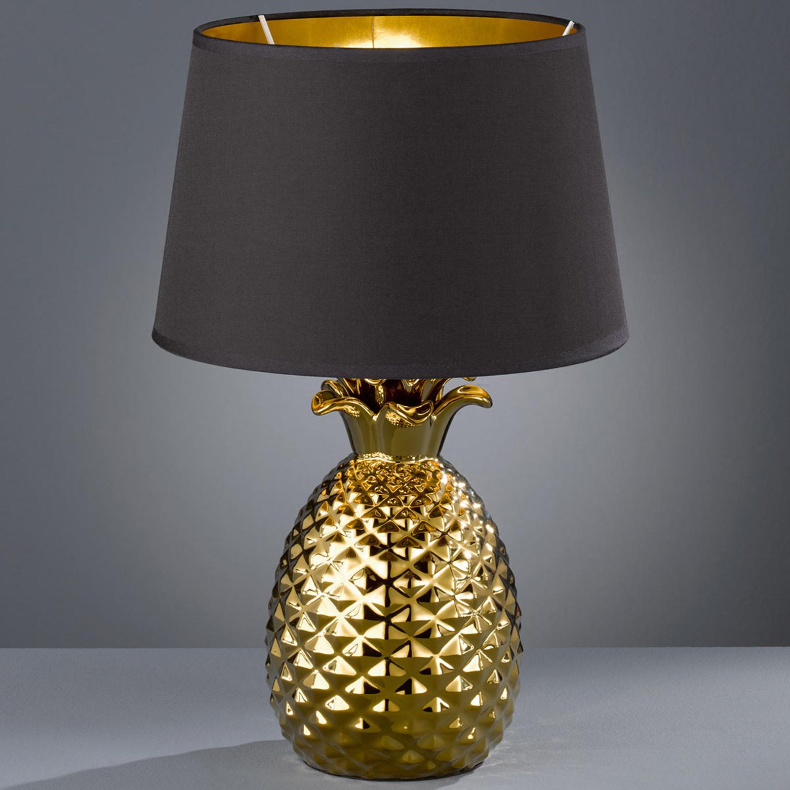 Goud-zwarte textiel tafellamp Pineapple, 45 cm