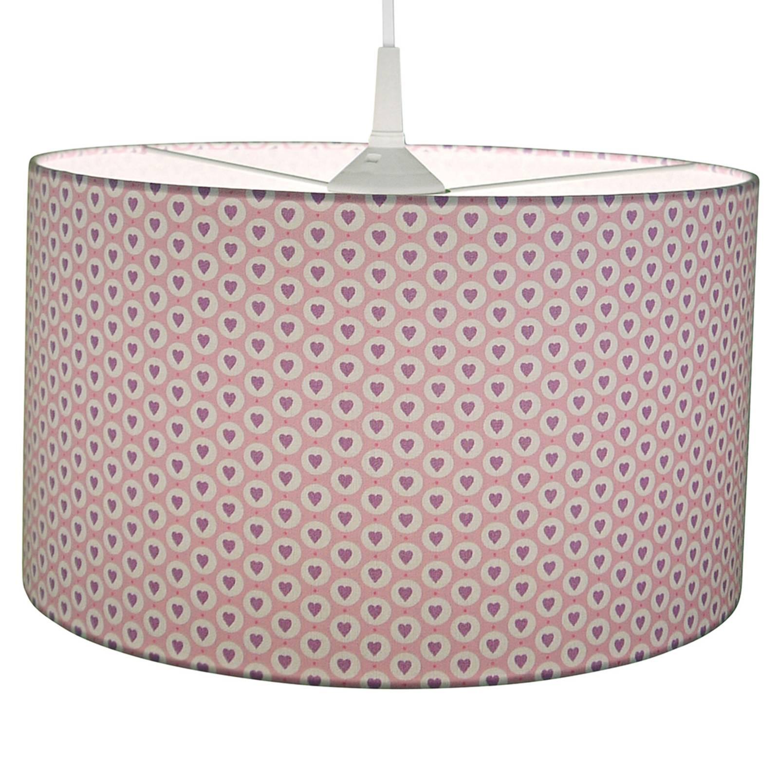 Materiałowa lampa wisząca Serca, różowa