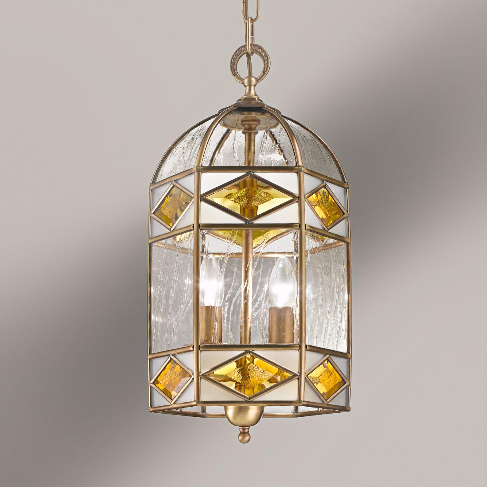 Emilia - lámpara colgante con vidrio catedral