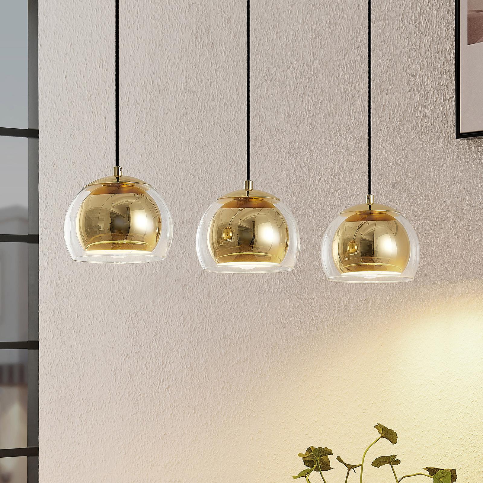 Lindby Daymien lámpara colgante, 3 luces, latón
