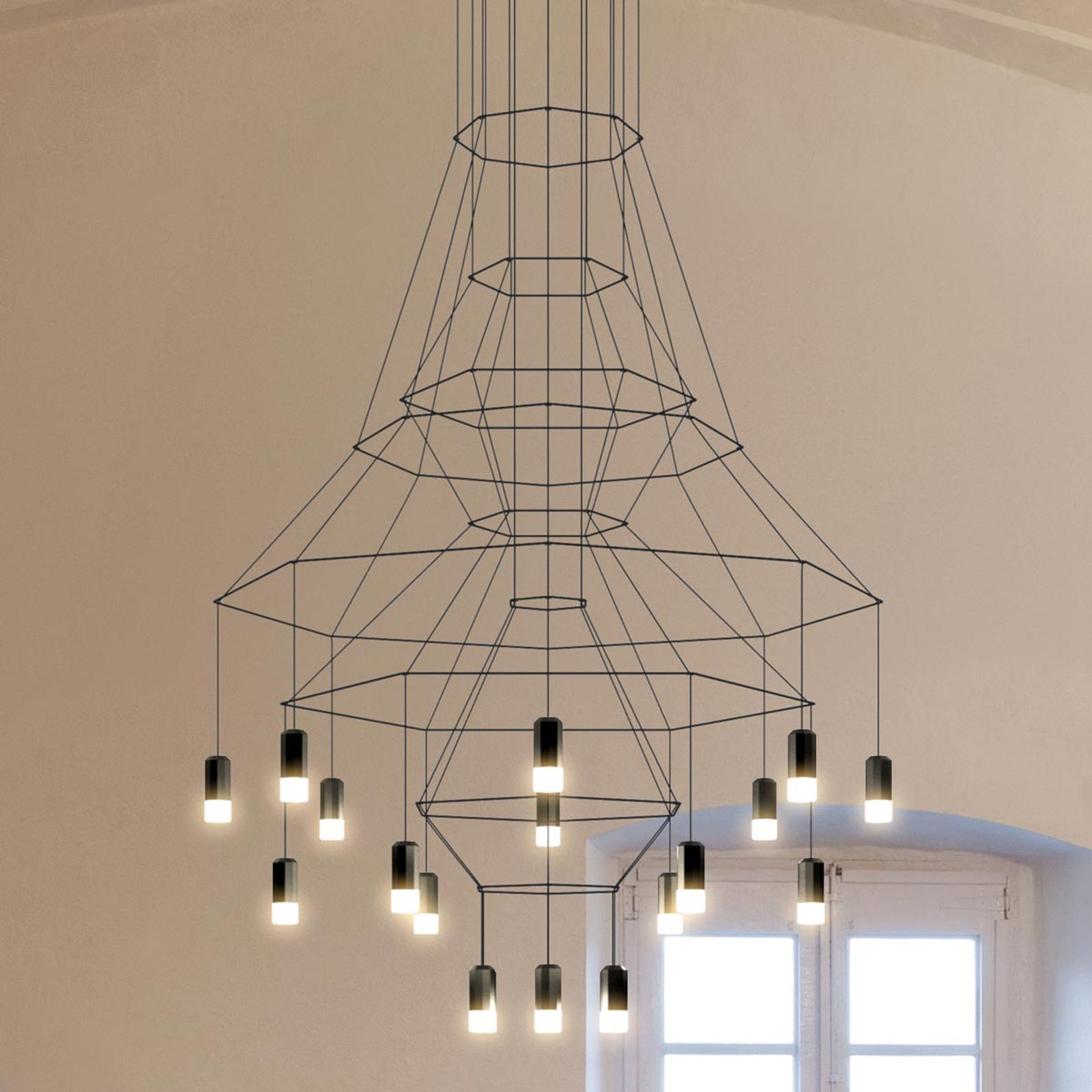 LED-Pendelleuchte Vibia Wireflow, schwarz, 279 cm