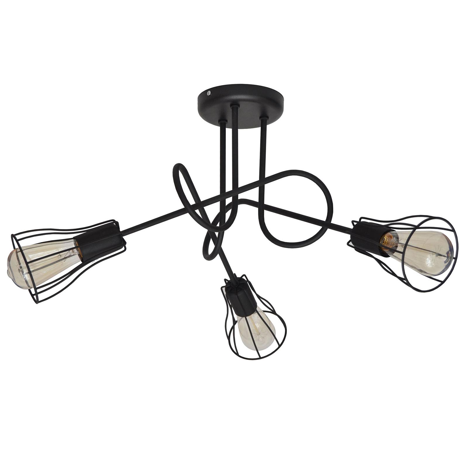 Deckenlampe Oxford 3fl. mit Käfigschirmen schwarz