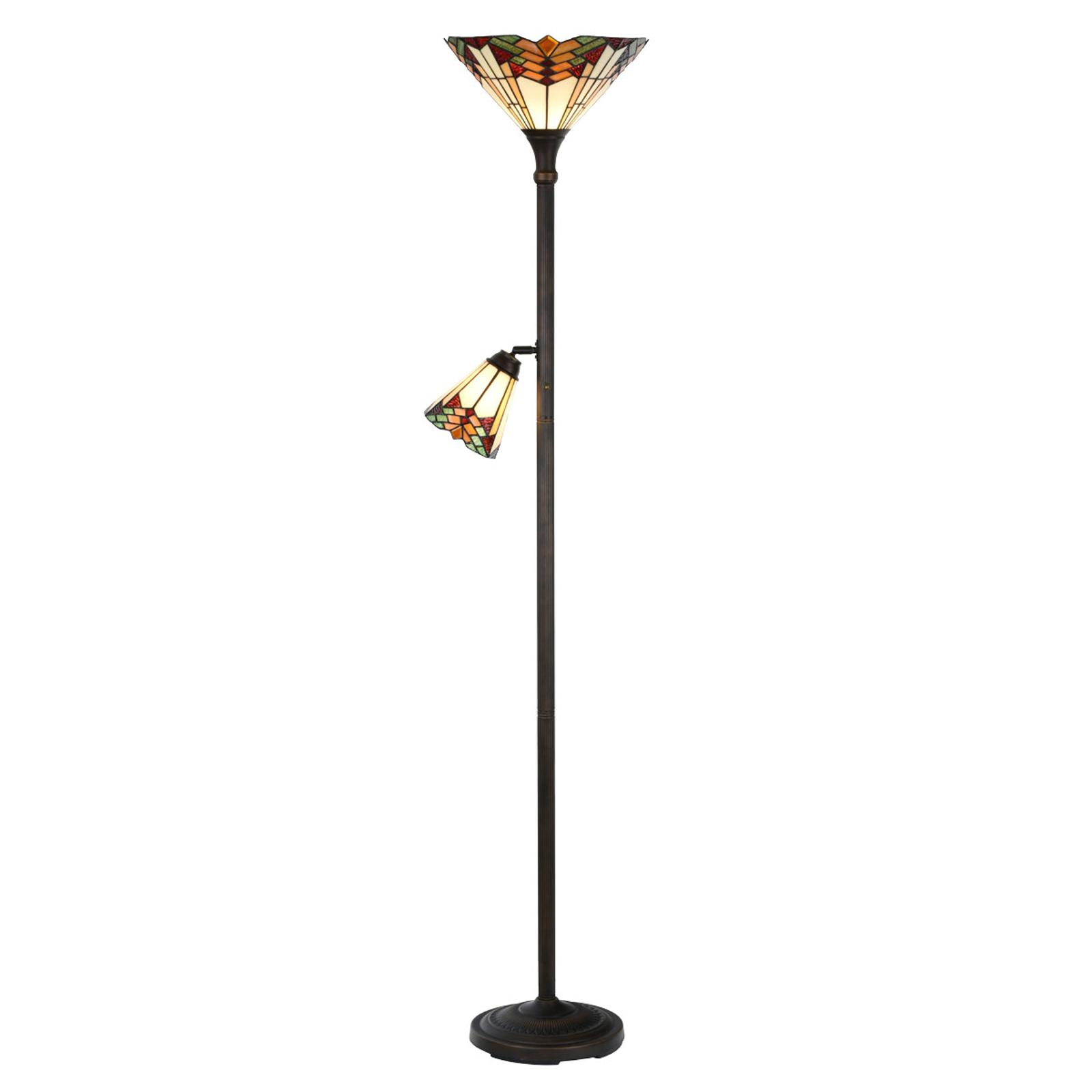 Lampa podłogowa 5969 z lampką do czytania, Tiffany