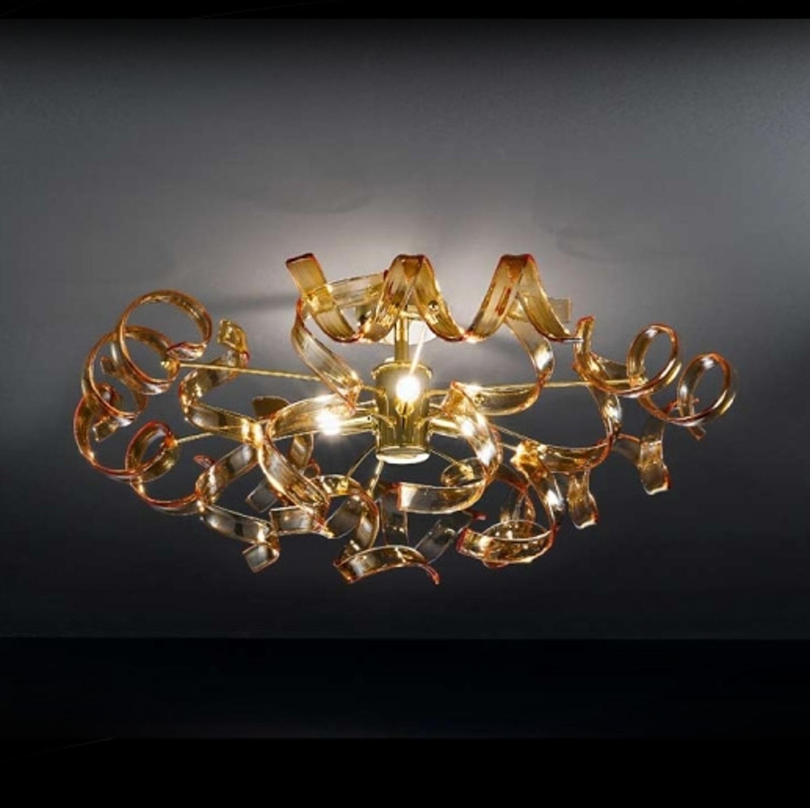 Ravgul taklampe AMBER, 60 cm i diameter